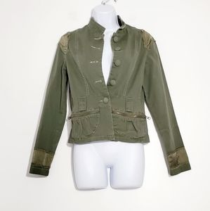 Heart Moon Star Olive Stretch Cotton Jacket